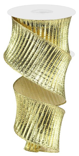 "2.5"" Gold Pleated Woven Metallic Ribbon RB100208"