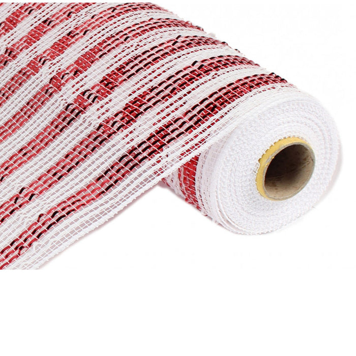 "21"" Red White Deluxe Wide Foil Stripe Deco Poly Mesh RE1063JF"