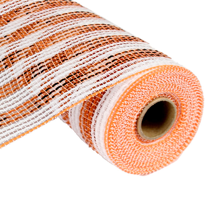 "21"" Orange Copper White Deluxe Wide Foil Stripe Deco Poly Mesh RE1063JJ"