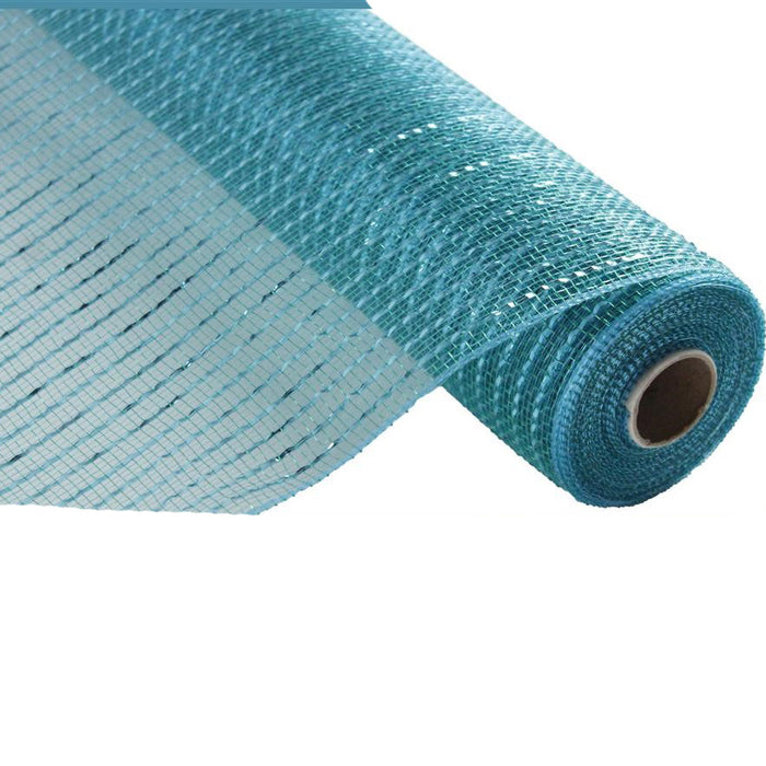 "10"" Teal Turquoise New Wide Foil Metallic Deco Poly Mesh RE136660"