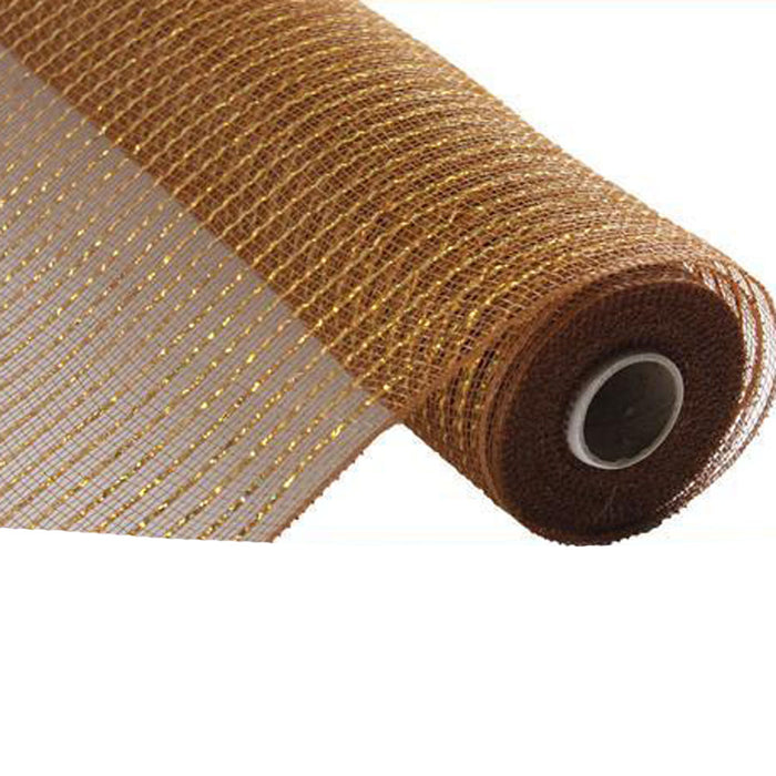 "10"" Brown with Laser Gold New Wide Foil Deco Mesh RE136679"