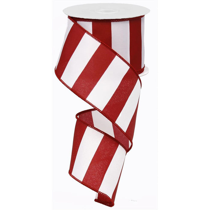 "2.5"" Burgundy White Wide Stripe Ribbon RG0135505"