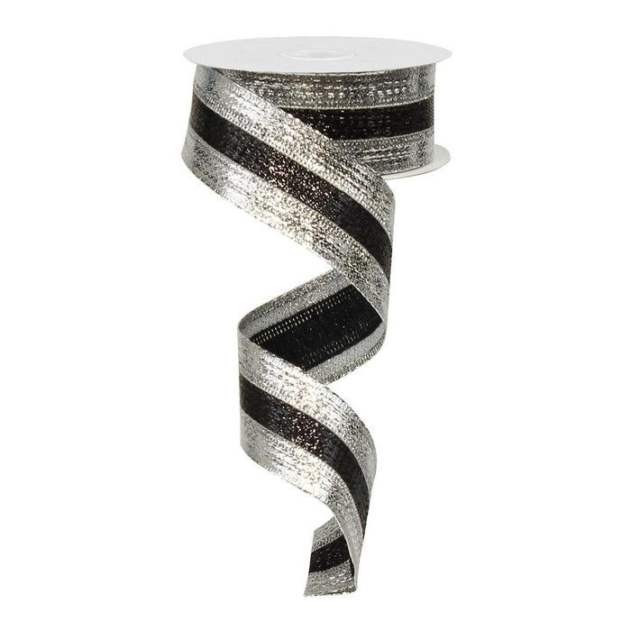 "1.5"" Black Silver Metallic Stripe Christmas Ribbon RG01536Y4"