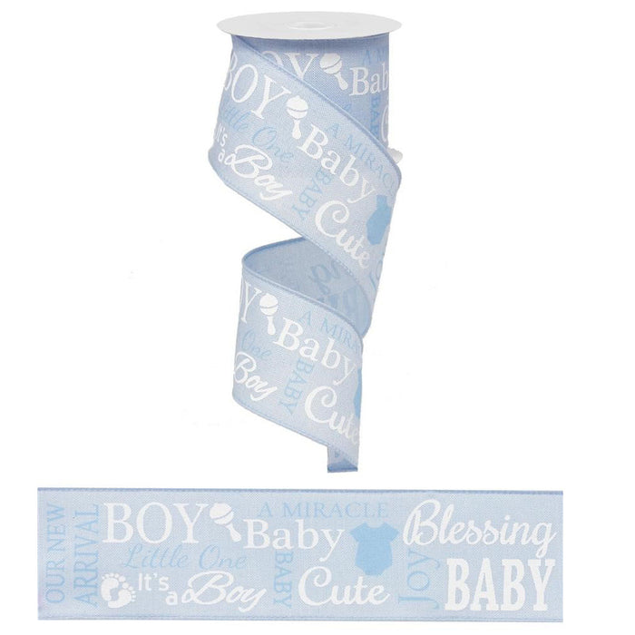 "2.5"" Blue Baby Boy Ribbon RG01590"