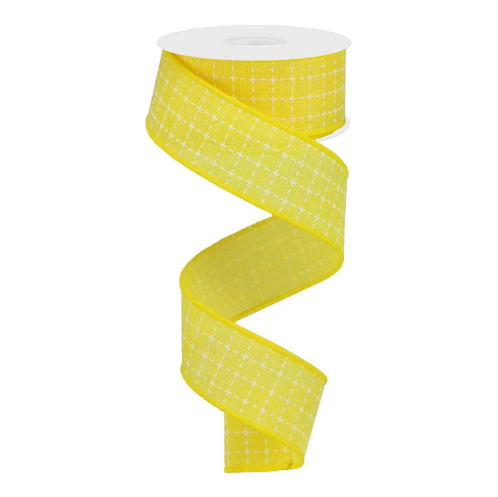 "1.5"" Yellow White Raised Stitched Squares Ribbon RG0167729"