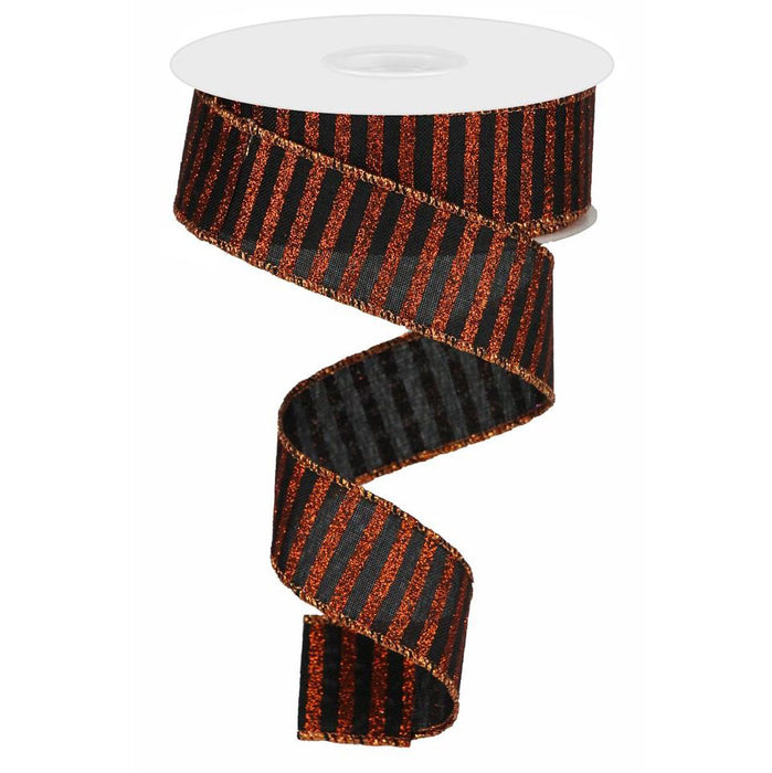 "1.5"" Black Bright Orange Glitter Stripe Ribbon RG0169402"