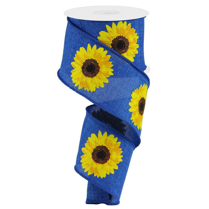 "2.5"" Royal Blue Yellow Sunflower Ribbon RG0181325"