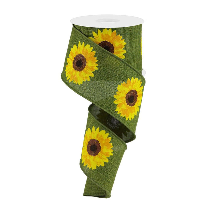 "2.5"" Moss Green Yellow Sunflower Ribbon RG0181352"