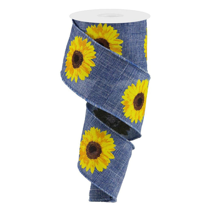 "2.5"" Denim Blue Yellow Sunflower Ribbon RG0181365"