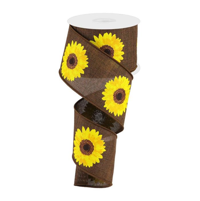 "2.5"" Dark Brown Yellow Sunflower Ribbon RG01813KH"