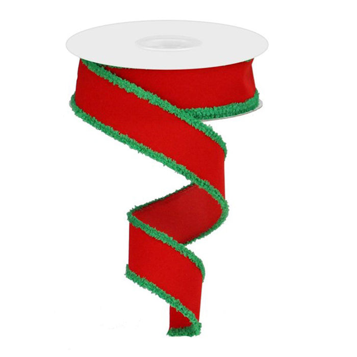 "1.5"" Red Velvet Emerald Green Chenille Edge Christmas Ribbon RG0189206"