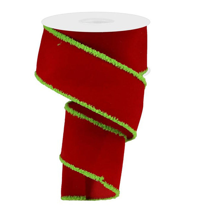 "2.5"" Red Velvet Lime Green Chenille Edge Christmas Ribbon RG01893E9"