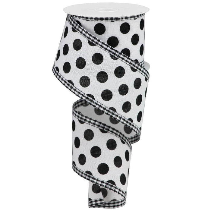 "2.5"" White Black Polka Dot Gingham Check Edge Ribbon RG0805027"