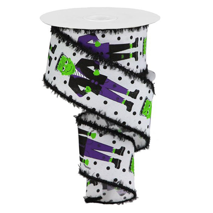 "2.5"" White Green Purple Black Frankenstein Halloween Ribbon"