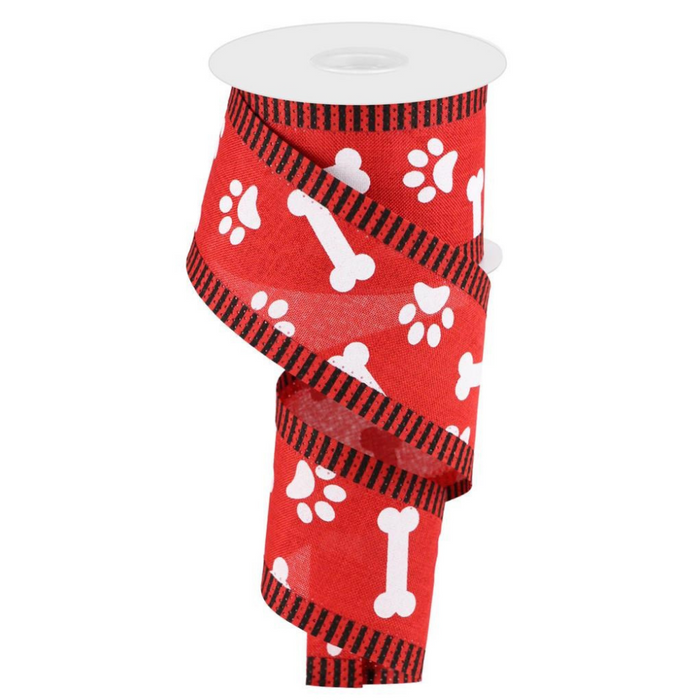"2.5"" Paw Print Bones Thin Stripe Ribbon RG0882524"