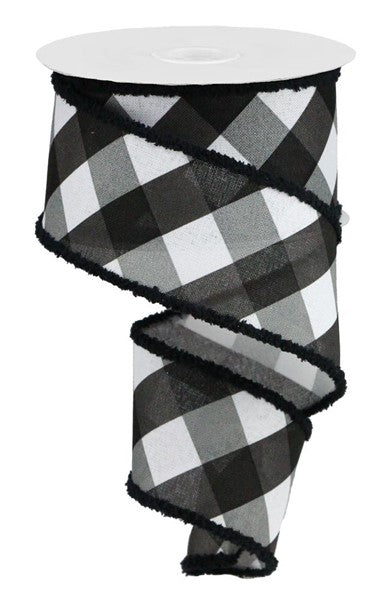"2.5"" Black and White Bold Check with Fuzzy edge on Royal Ribbon"