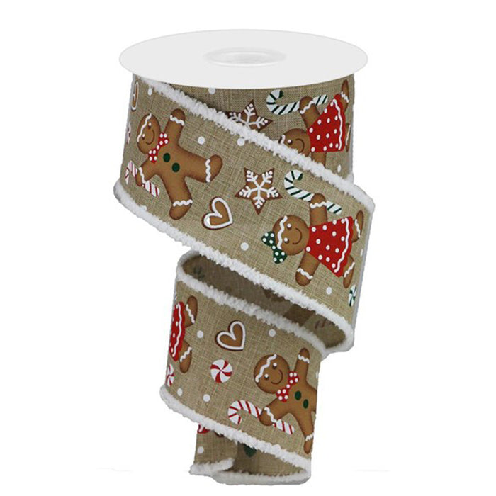 "2.5"" Gingerbread Candy Canes Christmas Ribbon RG899401"