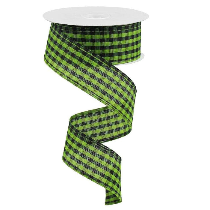 "1.5"" Lime Green Black Gingham Check Ribbon RGA12117H"