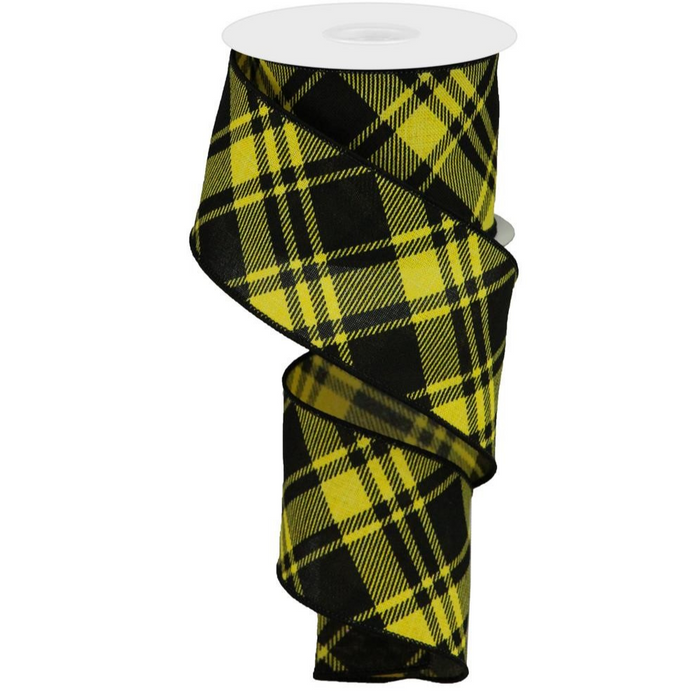 "2.5"" Yellow Black Diagonal Stripe Check Ribbon RGA128329"