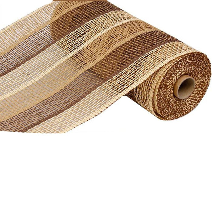 "10"" Poly Burlap Buff Chocolate Beige Stripe Mesh RP810293"