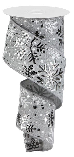 "2.5"" Grey Silver White Multi Snowflake Christmas Ribbon RX4310"