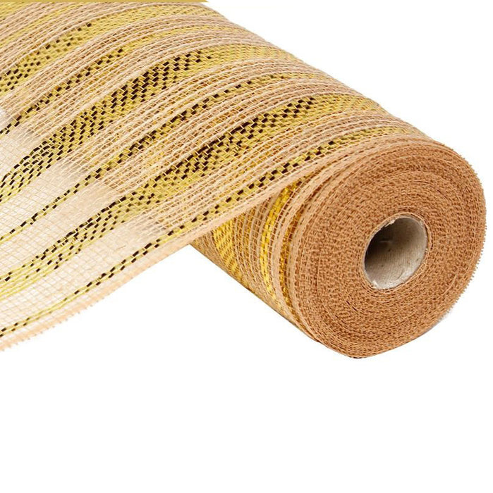 "10.5"" Natural Gold Foil Stripe Poly Jute Mesh RY800808"