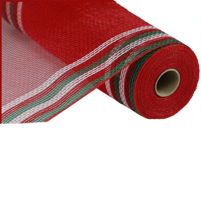 "10.5"" Red Faux Jute White Emerald Green Border Stripe Mesh RY8326C1"