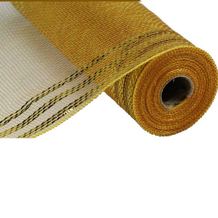 "10.5"" Brown Gold Deco Mesh Gold Metallic Border Stripe RY850255"