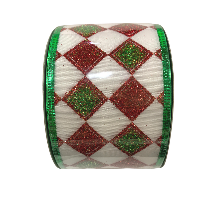 "2.5"" White Green Red Glitter Diamond Ribbon X541440-09"
