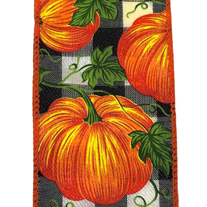 "2.5"" Black White Check Orange Pumpkins Ribbon X913840-21"