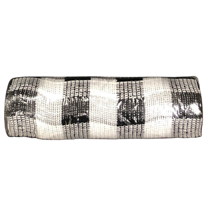 "10"" Black White Buffalo Plaid Fabric Mesh XB103110-21"