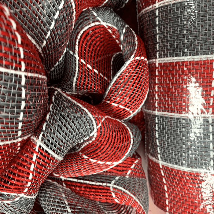 "10"" Dark Red Grey White Square Check Fabric Mesh"