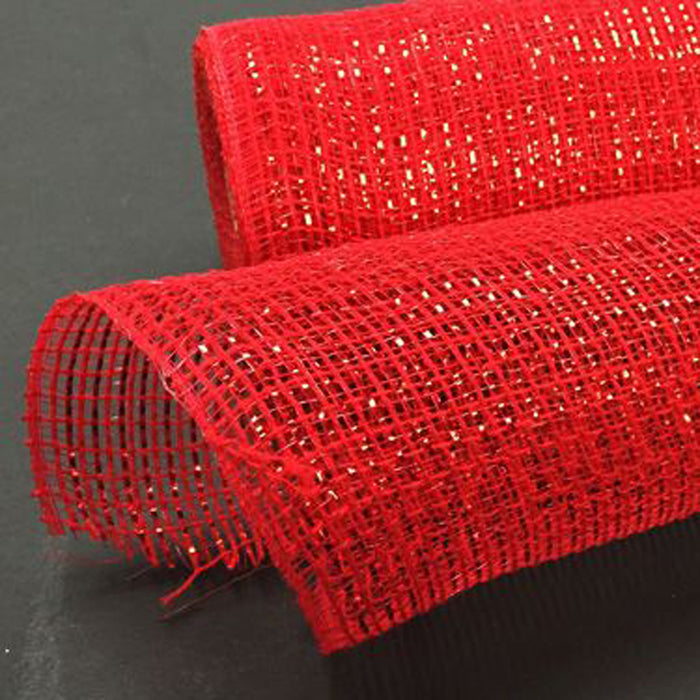 "10"" Red Metallic Fabric Mesh XB98710-12"