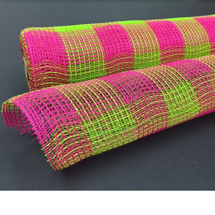 "10"" Lime Fuchsia Plaid Fabric Mesh XB99010-10"