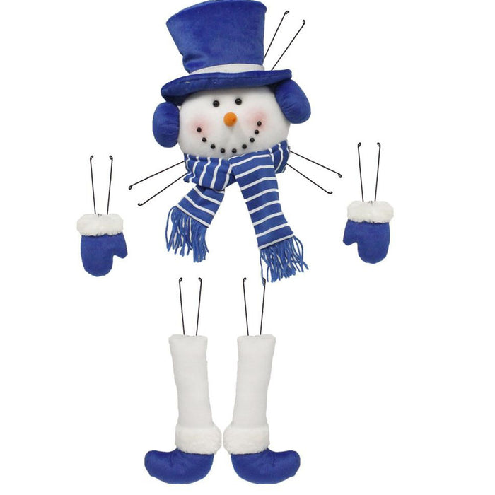 5 Piece Blue White Snowman Wreath Decor Kit XC610445