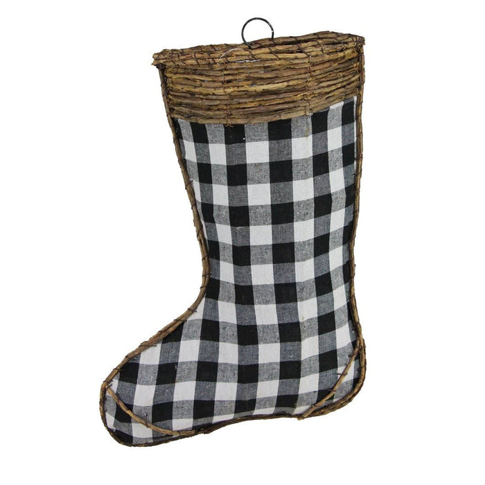 "16"" Black White Check Stocking Wall Pocket Christmas Decor XK012932"