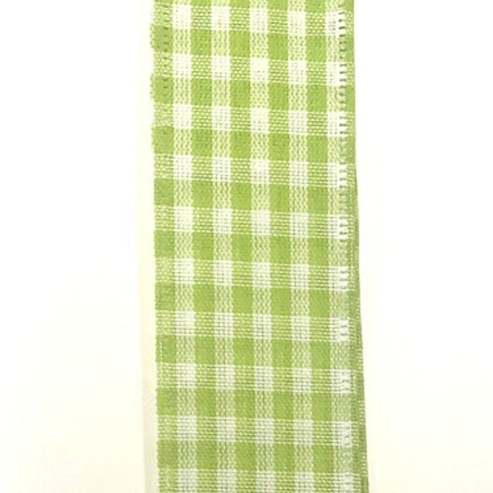 "1.5"" Green White Gingham Ribbon Q732409-09"