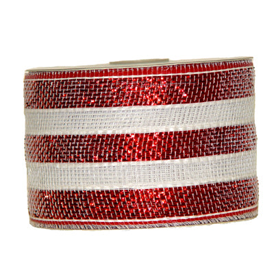"4"" Red White Stripe Metallic Foil Mesh Ribbon RS2015C4"