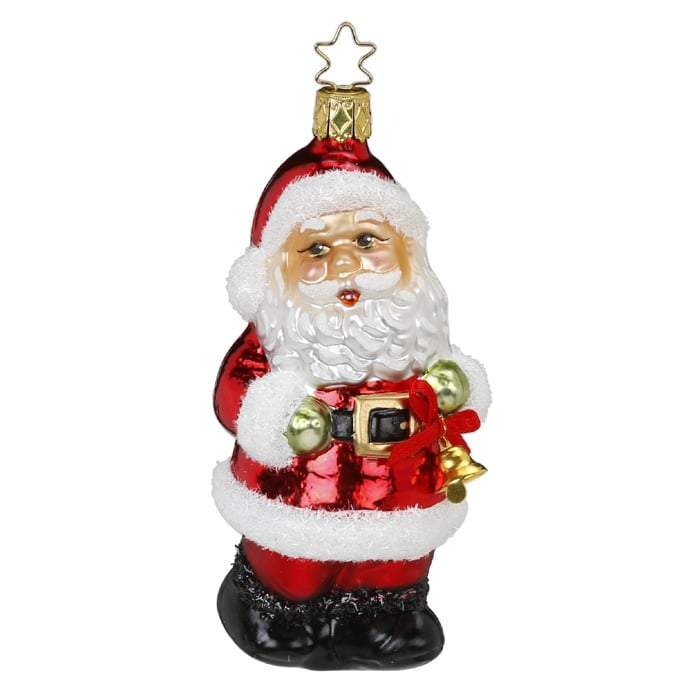 Ho Ho Holiday Santa Christmas Ornament Inge-Glas 1-032-16