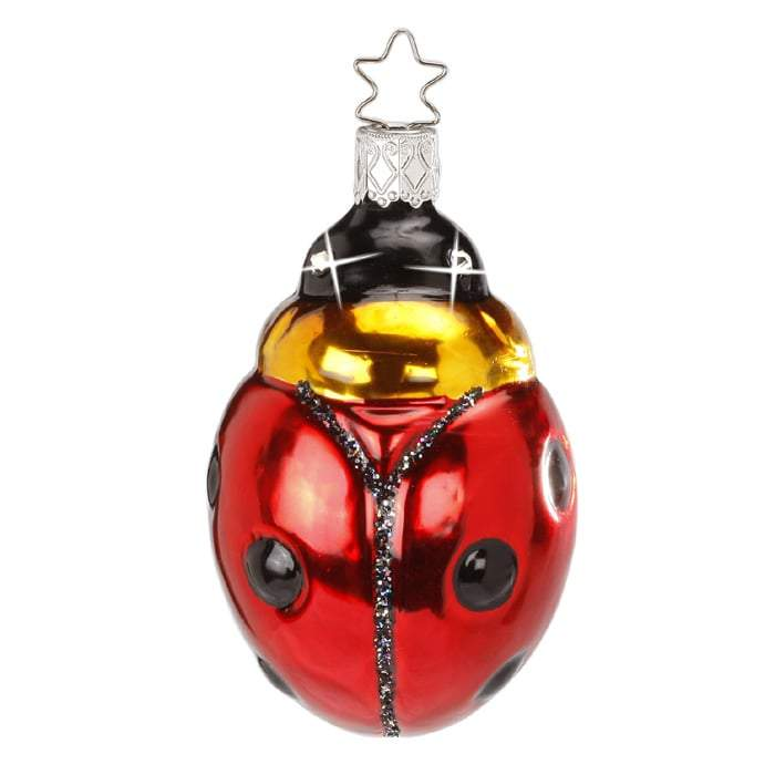 Sparkling Luck Ladybug Christmas Ornament Inge-Glas 1-035-14