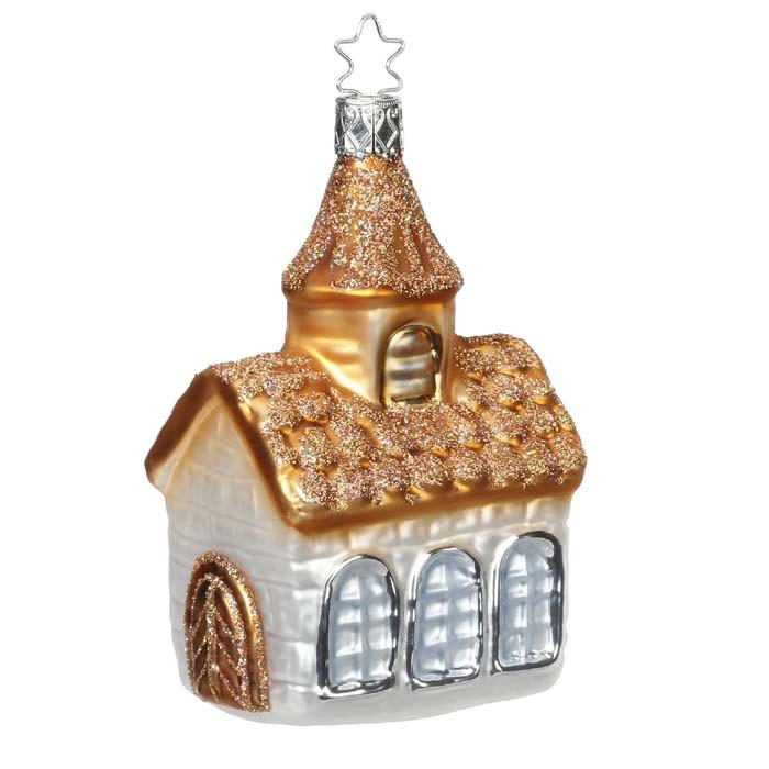 Country Church Christmas Ornament Inge-Glas 1-076-15