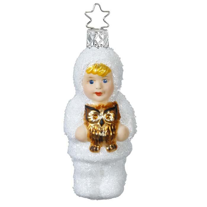 Kinder of Forest Child with Owl Christmas Ornament Inge-Glas 1-164-15
