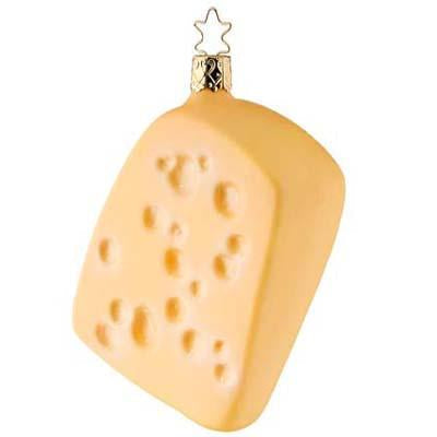 Swiss Cheese Christmas Ornament Inge-Glas of Germany 1-116-09