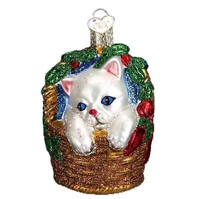 Kitten in Basket Ornament 12217 Old World Christmas