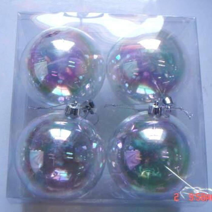 "4"" Clear Iridescent Plastic Ball Ornaments Box of 4"