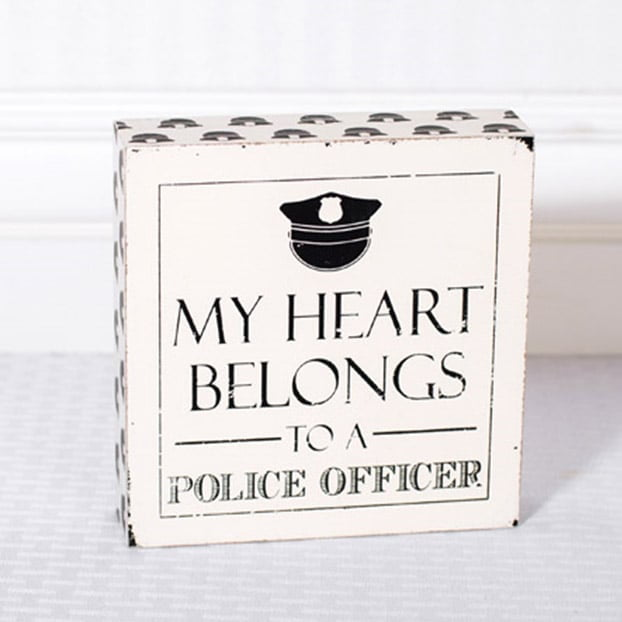 "6"" My Heart Belongs to a Police Officer Wood Sign"