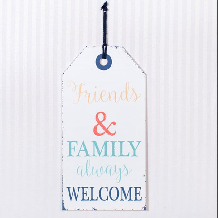 "16"" Friends & Family Always Welcome Wood Tag Sign"