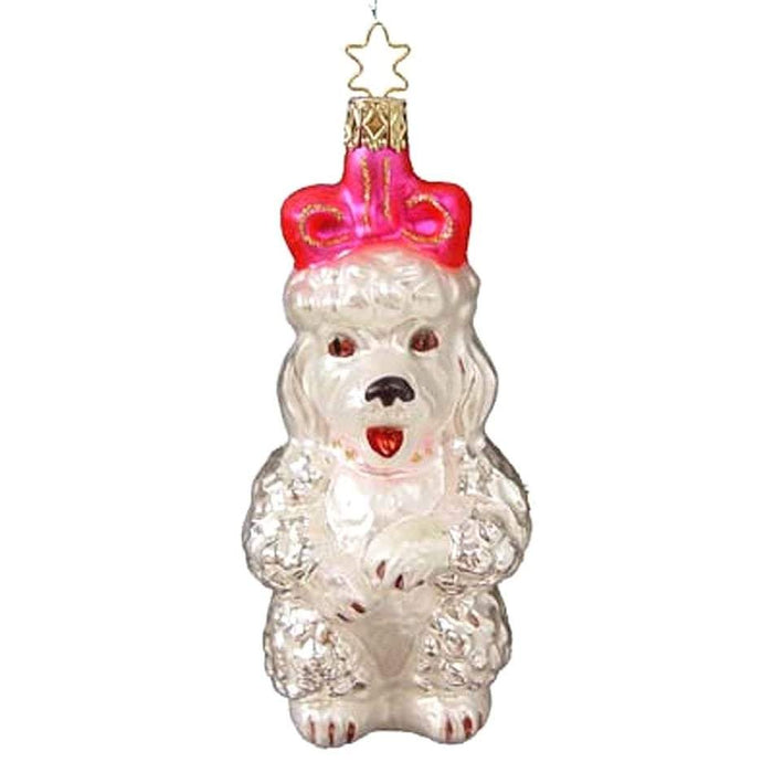 50's Poodle with Pink Bow Retired Christmas Ornament Inge-Glas of Germany 2-217-05