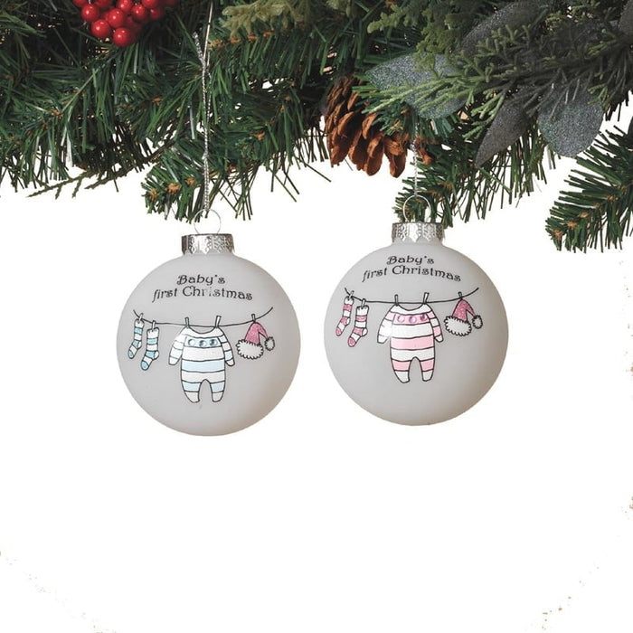 "3"" Glass Ball Baby Clothes Baby's First Christmas Ornament Asst"
