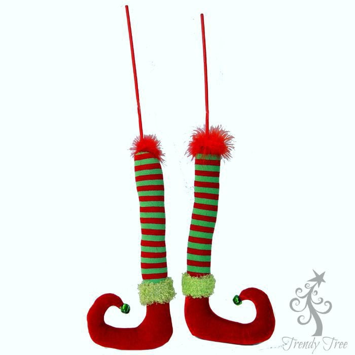 "25"" Red Green Striped Elf Leg Red Velvet Shoe Set of 2"